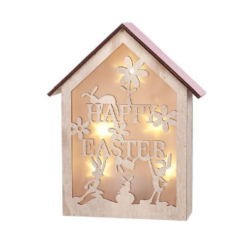 Happy Easter Wooden LED Light Up House Box